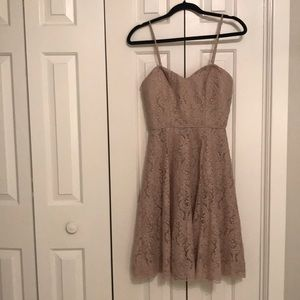 Watters&Watters Blush/Mocha Lace Dress, Size 0